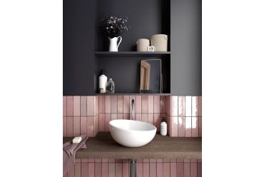 Rose mallow pink bathroom
