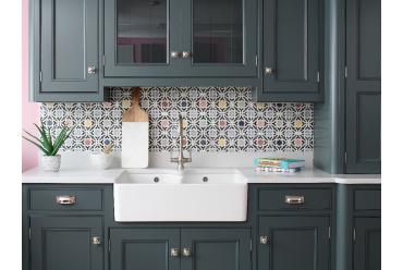 multi coloured star print square tile in kitchen
