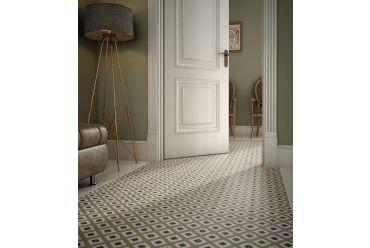 Green patterned hallway tiles