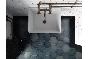 Multi grey hexagonal tile Bathroom