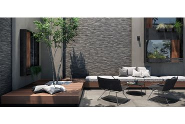grey black stone 3d effect tile outdoor space