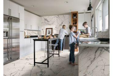 white marble effect large format polished porcelain kitchen