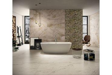 brown marble effect large format polished porcelain bathroom