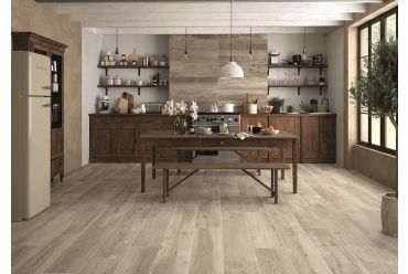 brown wood effect tile kitchen area