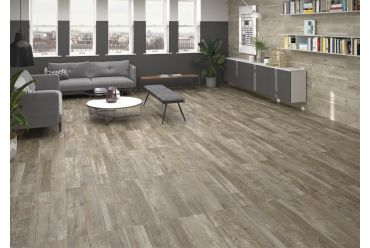brown wood effect tile living area