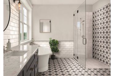 white and black star with stone effect background in bathroom