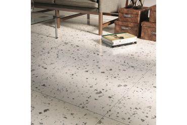 white terrazzo square tile living area